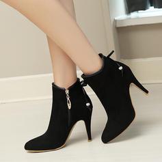 Femmes Suède Talon stiletto Escarpins Bottines avec Bowknot Zip chaussures