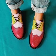 Dámské PU Placatý podpatek Boty Bez Podpatku S Šněrovací Splice Color obuv