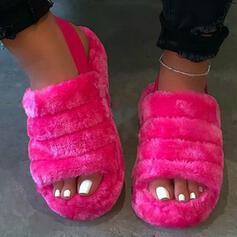 Mulheres Plataforma Sandálias Sem salto Peep toe com Pele Cor sólida sapatos