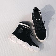 Vrouwen PU Low Heel Flat Heel Chunky Heel Laarzen Enkel Laarzen Martin Boots Hoge top met Vastrijgen Effen kleur schoenen