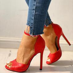 Women's PU Stiletto Heel Sandals Pumps Peep Toe With Buckle shoes