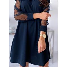 Krajka/Pevný/Puntíky Dlouhé rukávy Splývavé Nad kolena Malé černé/Elegantní Šaty