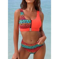 Leopard Dungă Frunze Curea Decolteu în U Frumos Atractiv Bikini Mayolar