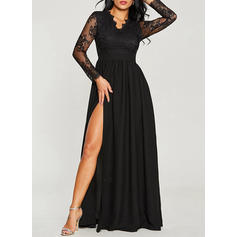 Lace/Solid Long Sleeves A-line Little Black/Party/Elegant Maxi Dresses