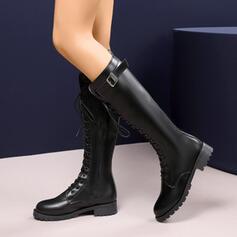 De mujer Cuero Tacón ancho Botas al tobillo Encaje con Cremallera Cordones Borla Color sólido zapatos