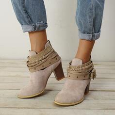 Mulheres Camurça Salto robusto Bota no tornozelo com Aplicação de renda sapatos