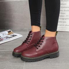 Donna PU Tacco basso Punta chiusa Stivali Stivali alla caviglia Martin boots Punta rotonda con Allacciato scarpe