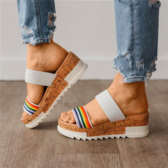 De mujer Tela Tipo de tacón Sandalias Cuñas con Color de empalme zapatos