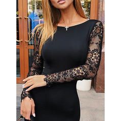 Lace/Solid Long Sleeves Bodycon Knee Length Little Black/Casual Pencil Dresses