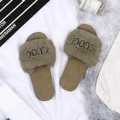 Γυναίκες Υφασμα Επίπεδη φτέρνα Παντούφλες Με Στερεώ Γούνα παπούτσια