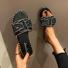 De mujer PU Tacón plano Sandalias Encaje Pantuflas con Rhinestone Bowknot Lentejuelas zapatos