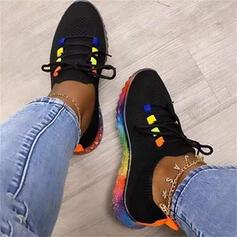 Dla kobiet Material Płaski Obcas Plaskie Niskie góry Round Toe Tenisówki Z Sznurowanie Kolor splotu obuwie