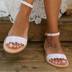 De mujer Cuero Tacón plano Sandalias Encaje con Encaje zapatos