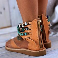 Mulheres PU Sem salto Sandálias Sem salto Peep toe com Zíper sapatos