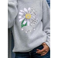 Virágos Animal Print Dlouhé rukávy Kapuce