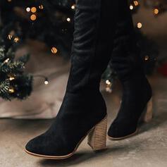 婦人向け スエード スティレットヒール ニーハイブーツ とがったつま先 とともに ソリッドカラー 靴