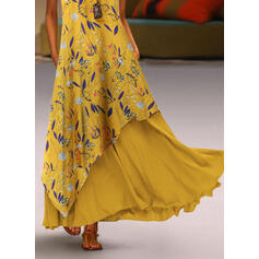 Print/Floral Sleeveless Shift Tank Casual Maxi Dresses