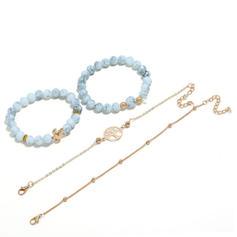 Tortoise Alloy Resin Women's Fashion Bracelets (Set of 4)