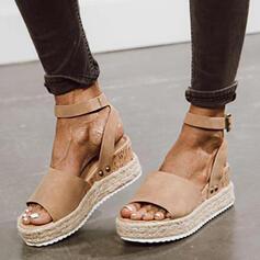 De mujer Ante Tipo de tacón Sandalias Plataforma Cuñas Encaje con Hebilla Color sólido zapatos