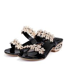 Piel Tacón bajo Sandalias Mary Jane Zapatos para boda en la playa con Rhinestone