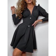 Pevný Dlouhé rukávy/Nadýchané rukávy Áčkové Nad kolena Malé černé/Elegantní Šaty