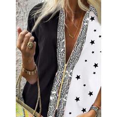 Распечатать Цветной блок Блестки V шеи Длинные рукова Повседневная Блузы