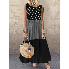 Print/PolkaDot Sleeveless Shift Tank Casual/Vacation Maxi Dresses