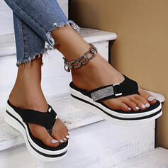 De mujer Ante Tacón plano Sandalias Chancletas Pantuflas con Rhinestone zapatos