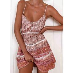 Print Sleeveless A-line Above Knee Sexy/Casual/Boho/Vacation Slip Dresses
