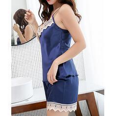 Cuello en V Color sólido Sexy Cami y conjuntos cortos