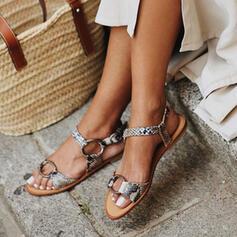 Pentru Femei PU Fară Toc Sandale Puţin decupat în faţă cu Cataramă De la gât înafară pantofi