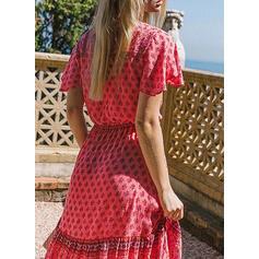 Print Short Sleeves A-line Skater Casual/Boho/Vacation Midi Dresses