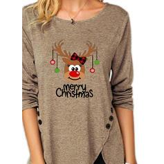 Stampato Animale Figura Girocollo Maniche lunghe Bottone Casuale Natale Camicie