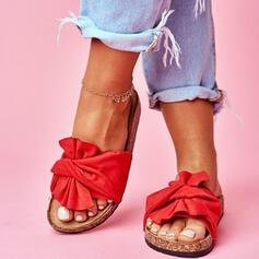 Kvinder Ruskind Flad Hæl sandaler Kigge Tå Tøfler med Bowknot sko