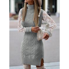 водолазка Повседневная Долго Свитер платье
