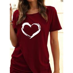 Impresión/Corazón Manga Corta Cubierta Sobre la Rodilla Casual Camiseta Vestidos