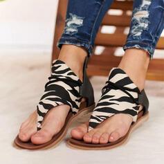 De mujer Cuero Tejido Tacón plano Sandalias con Estampado de animales Cremallera zapatos