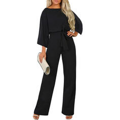 Solid 3/4 Sleeves Little Black/Casual/Elegant Jumpsuits Dresses
