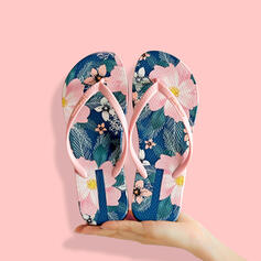 De mujer PVC Tacón plano Sandalias Chancletas Pantuflas con Estampado flor zapatos