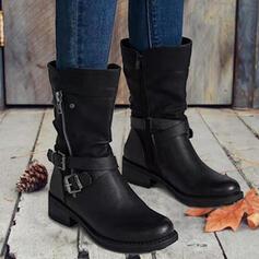 De mujer PU Tacón plano Botas Botas al tobillo con Color sólido zapatos