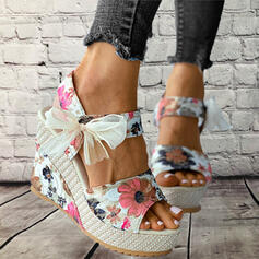 Women's Cloth Wedge Heel Sandals With Bowknot Stitching Lace Floral Print shoes