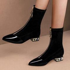 Donna PU Tacco spesso Stivali altezza media Punta a punta con Cerniera Tacchi ingioiellati Colore solido scarpe