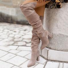 婦人向け スエード チャンクヒール ブーツ とともに シャーリング ジッパー ソリッドカラー 靴