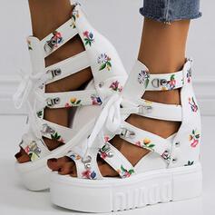 Női PU Ékelt sarkú Szandál Emelvény Ékelt szandál Peep Toe Sarok -Val Csat Virág cikkcakk cipő