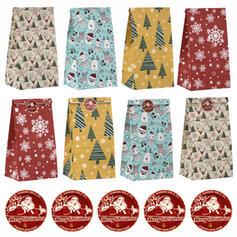 Polpa de madeira natural Ornamentos de Natal Sacos de Doces (Conjunto de 24)