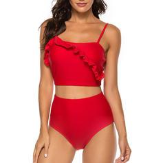 Culoare tare Talie Înaltă Curea Sexy Bikini Mayolar