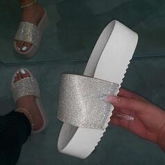 De mujer PU Tacón plano Pantuflas zapatos