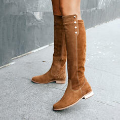 Women's Suede Low Heel Boots Knee High Boots With Rivet Solid Color shoes