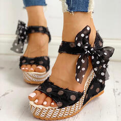 Women's PU Wedge Heel Sandals Wedges With Bowknot shoes