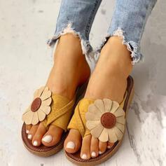 De mujer PU Tacón plano Sandalias Pantuflas con Flor zapatos